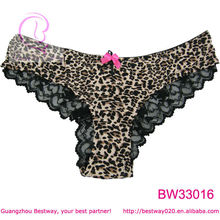 Sexy panties leopard pattern lace & bow decorated panties