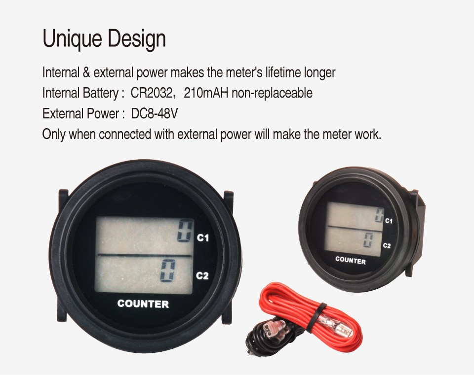 Digital round DC 8-48V counter and counter for Marine forklift truck tractor cleaning van vehicle golf cart RL-HM005F