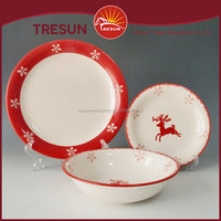 Hand Painted Dinnerware 12pcs red deer and snowflake Handpainted Dinnerware
