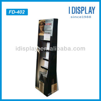 corrugated cardboard POP floor stand cosmetic display stand for retail
