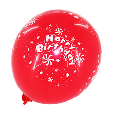 red standard color printed happy birthday latex balloons