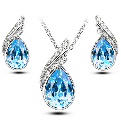 2016 Austrian Crystal Jewelry Sets For Women Fashion Jewellery & Jewerly Silver And 18K Gold Plated Bridal Wedding Jewelry Sets