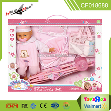 new item play house baby stroller & IC 18 inch lovely baby doll dress up game for kids
