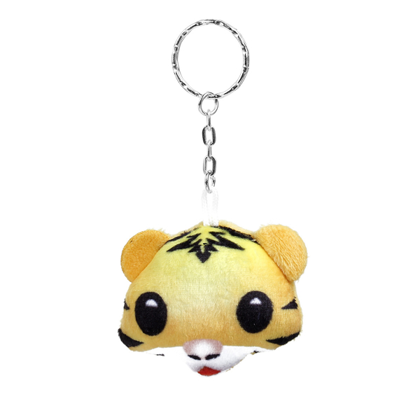Plush Keychain & Keyring Tiger Animal Silver Tone Yellow Emoji Pattern Carved 10.7cm x 5.5cm