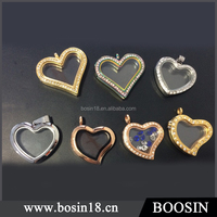 2016 New Design Romantic Heart Floating Memory Locket Pendant,metal empty glass pendant for necklace jewelry