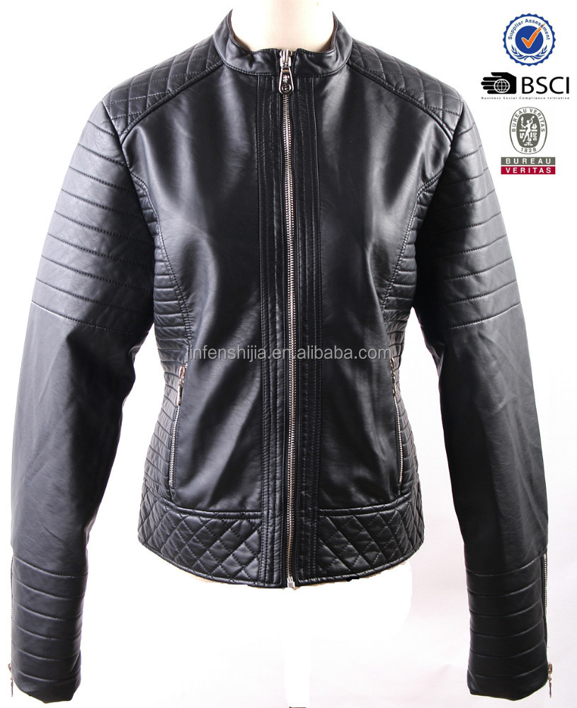 Free sample 2017 latest design black leather jacket for women