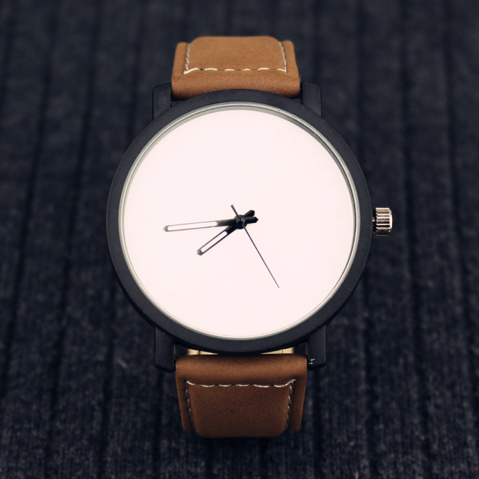 Trendy watch Couple leather big dial simple Watch