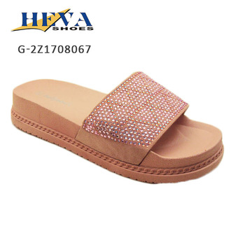 Elegant Women's Jeweled Rhinestone Single Band Slippers Open Toe Shimmering Slides Slip-On Mule Sandal