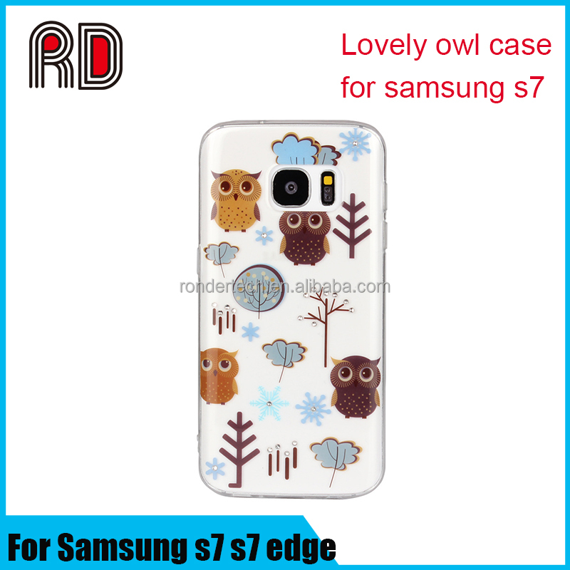 Hot selling cartoon lovely owl printing glitter gemstone bling crystal transparent tpu phone case for samsung s7 s7edge