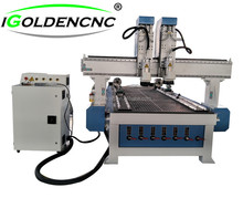IGW 1325 wood cnc router machine with two heads and 4 axis control system