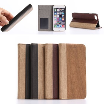 Wood Leather Wallet Phone Case Cover for iphone 7 8 , for iphone8 7 Accessories Case