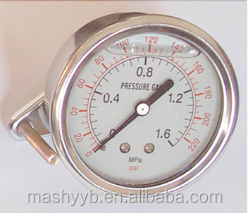 all stainless steel aseismatic bourdon sedeme pressure gauge