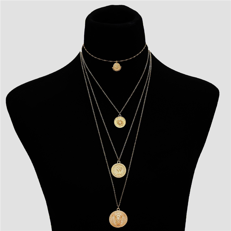 Buy 10 Get <strong>1</strong> Free,Luxury Gold Tone Multilayer Round Lion Head Coin Long Necklace 4 Layer Head Portrait Pendant Necklace