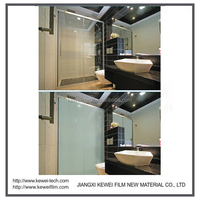 Kewei Brand Smart glass film for shower room or hotel,matte white or grey color 1.4*3m/1.5*3m, self-adhesive with glue