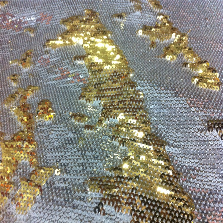 Best sell embroidery sequin reversible fabric sequin motif two motifs