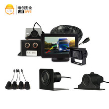 Agricultural tractor truck reverse backup surround view camera system with LCD monitor