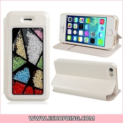Stylish Faux Leather Protective Case with Stand & Card Slots for iPhone 5S 5