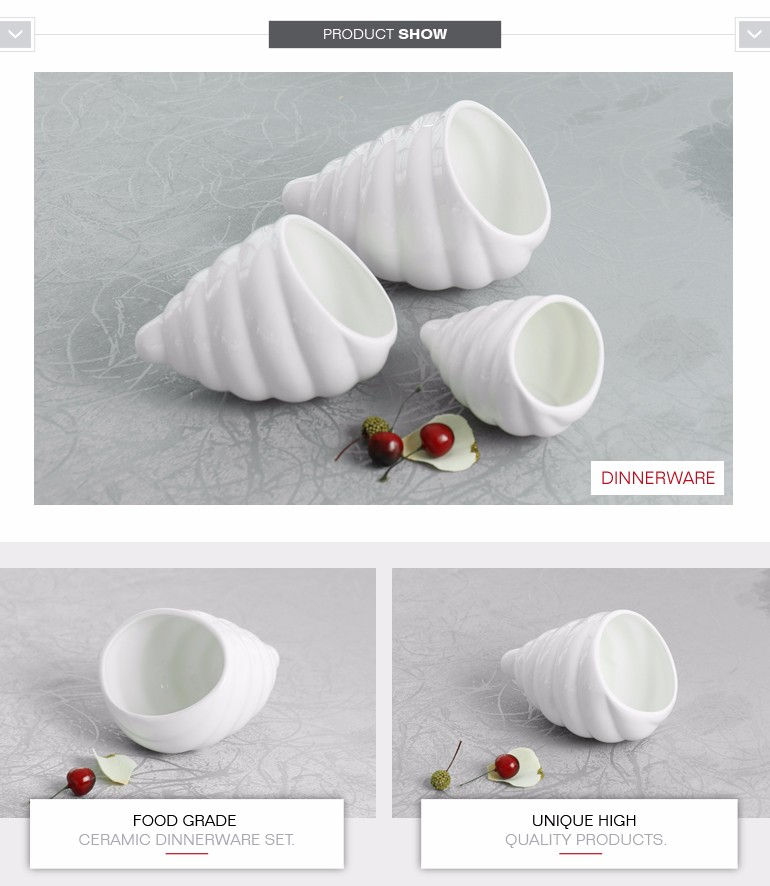 Unique special sea shell shape snack dishes restaurant with different size
