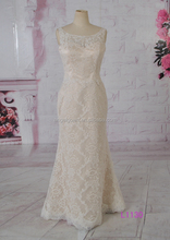 L1130 champagne color straps boat neckline floor length no train 2016 fashionable style wedding dress