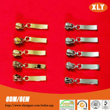 Shiny gold zipper slider for sale polished metal zipper pull with custom zip pullers