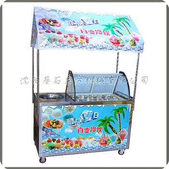 Ice porridge machine, fried ice machine, combination car