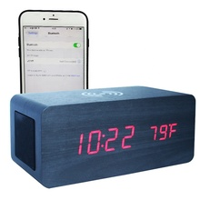 2019 Creative Multifunction 3 in 1 Bluetooh Speaker Wireless Phone Charger Wooden LED Alarm Clock
