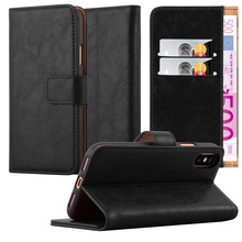High Quality Luxury Flip PU Wallet Leather With Card Slot Stand Mobile Phone Case Back Cover For iPhone X