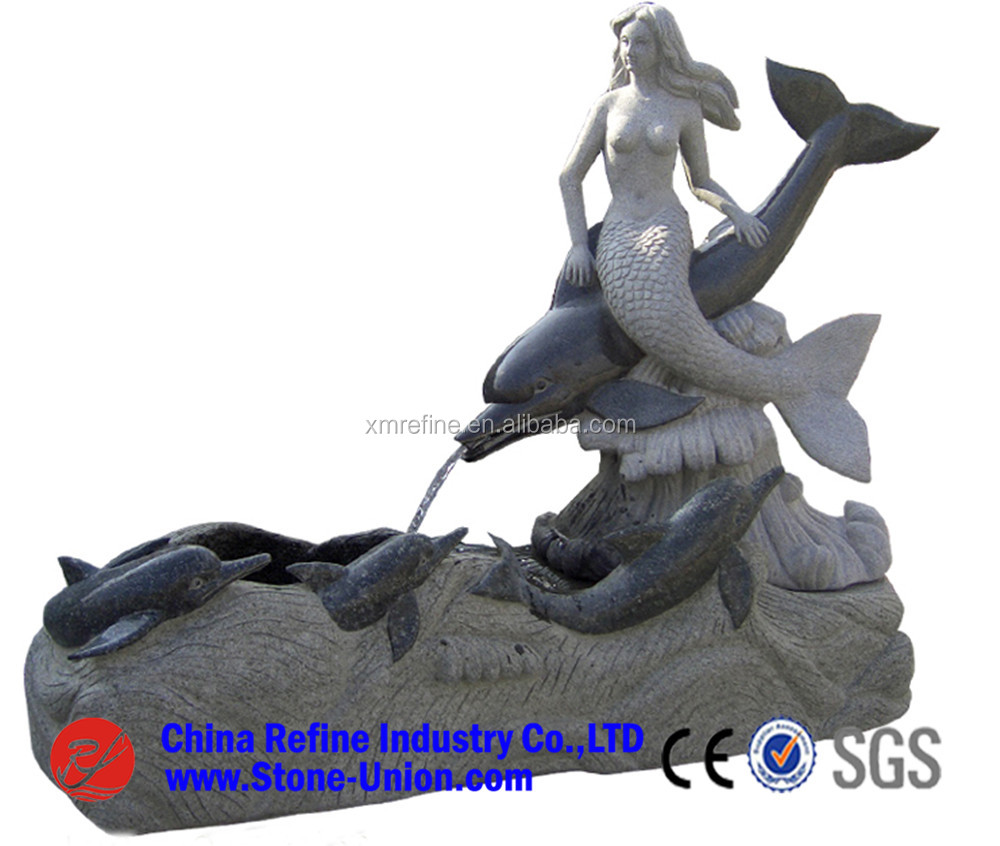 White granite dolphin garden water fountain