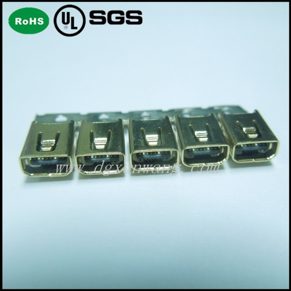 Female Mini USB Connector 8Pin SMT Type