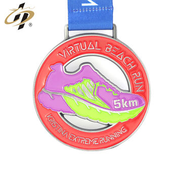 Metal round hollow out custom cheap running medal