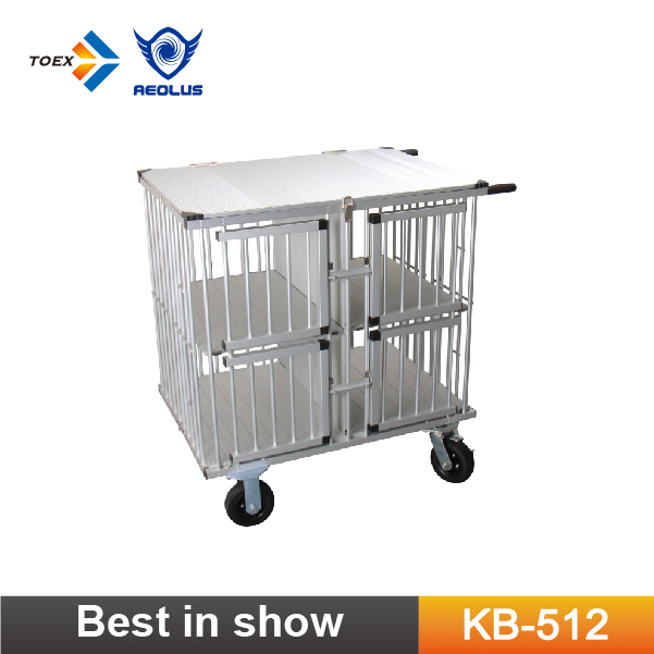KB-512 Pet Folding Cage Aluminum Dog Show Trolley Cage Carrier Medium Size