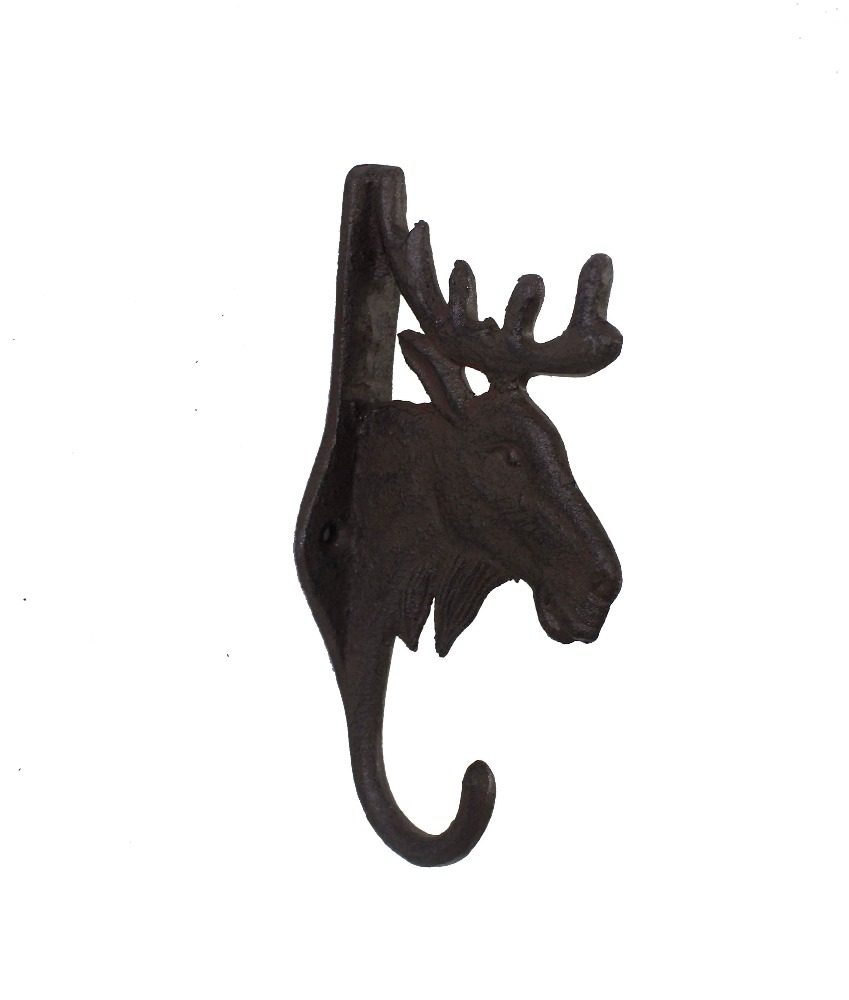 cast iron wall mounted metal reindeer head coat and key hook and hanger
