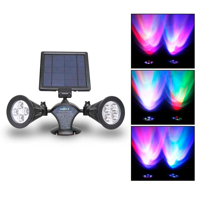 Superb 400 Lumens RGB Solar Powered Led Spotlight,Outdoor Flexible Wall- Mount Wall Light (YH0502E-RGB)