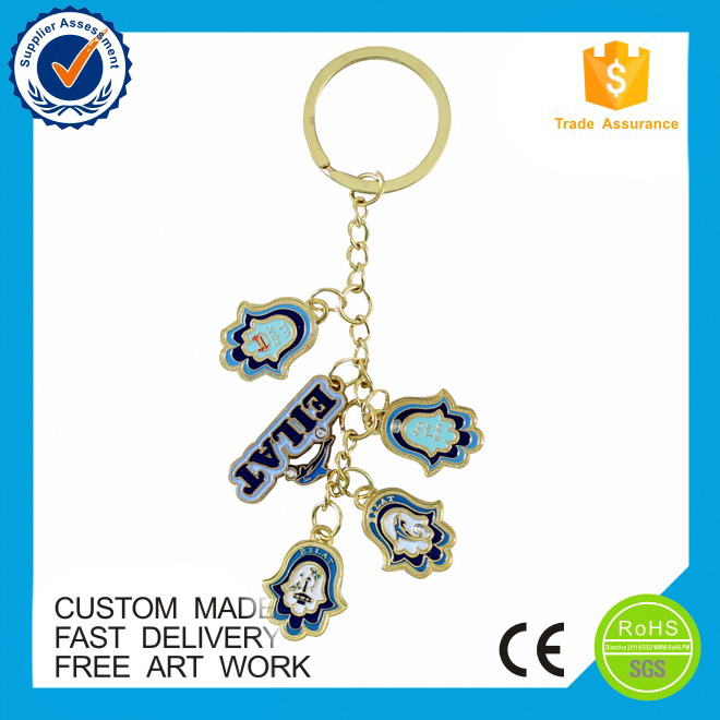 wholesale fancy gold color enamel metal keychain
