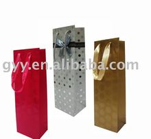wine bottle paper bag with shiny pattern
