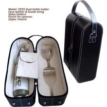 Leather wine carrier for single bottle and 2 glasses