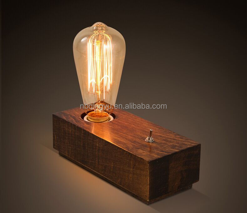 Vintage table lamp Innovation products 2016 decorative wooden lamp with antique bulb hand carve lamp