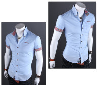 Spring hot sale wholesale short sleeve110pcs/lot designer men casual shirt