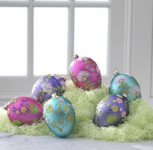 handpainted color decorative glass hanging easter eggs