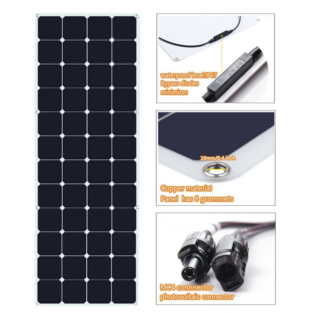 customized semi flexible 50w 100w 150w 12v 18v 24v flexible solar panel marine