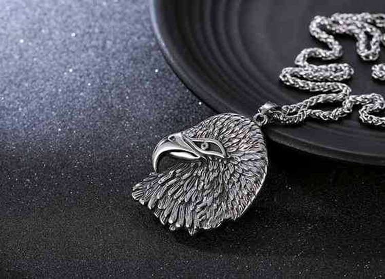 Retro Jewelry USA Stainless Steel Eagle Pendant Necklace