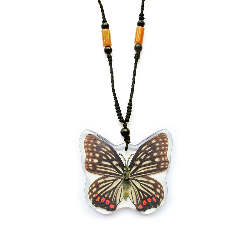 2016 new style novel necklace with real butterfly