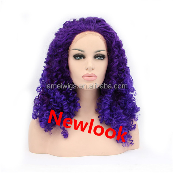 Newlook P0016 purple long curly wig factory cheap synthetic girl hair weft