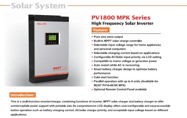 <Must Solar>PV1800 serie pure sine wave power supply 5KVA 48V solar inverter for solar system