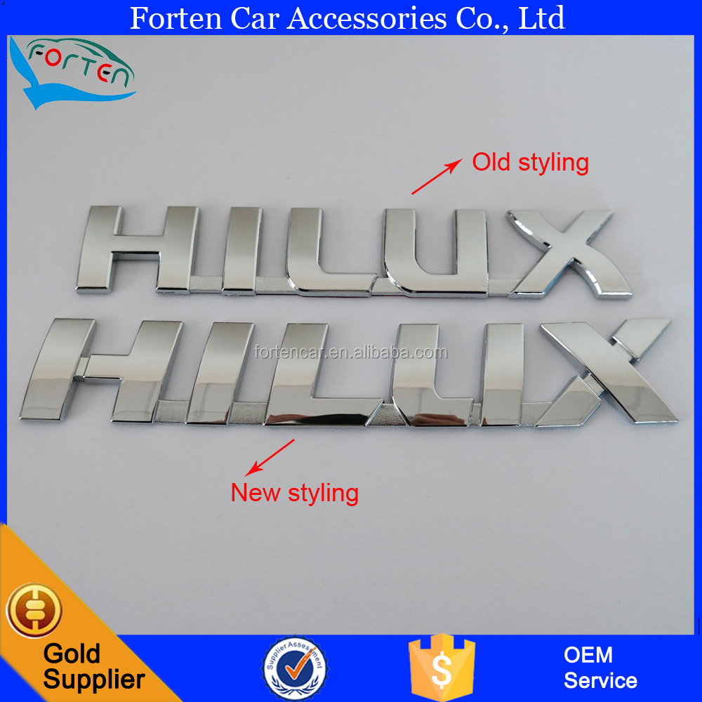 Custom New ABS Chrome Car Hilux Logo Tail Side Letter Emblem Badge