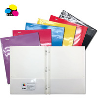 Factory Price Lehui High Quality Color Letter Size Two-Pocket With 3 Prongs Paper Portfolio File Folder