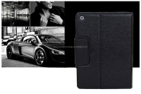 New fashion portable folding stand bluetooth keyboard PU leather black case for Ipad 4
