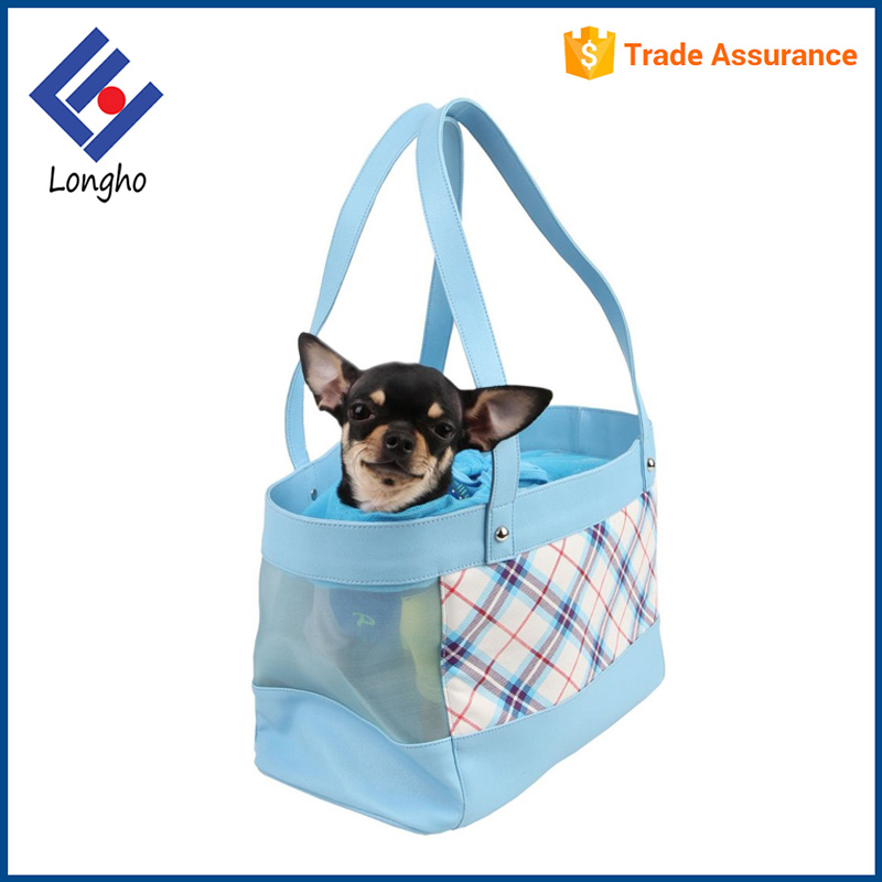 Chinese supplier colorful plaid modern puppy carry bag drawstring mesh opening trendy elegant dog bag pet carrier
