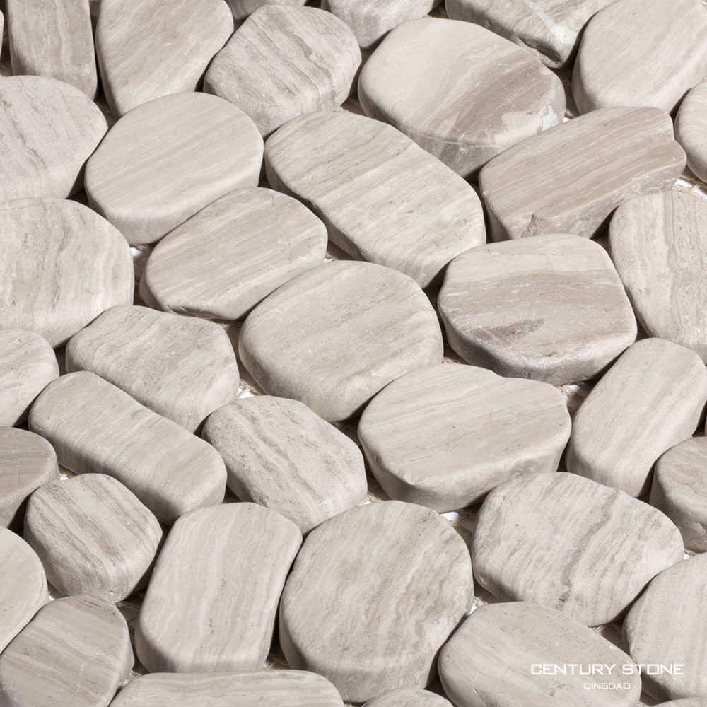 light wood grain sliced cobble stone mosaic tile