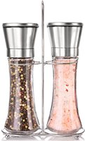 Updated Salt and Pepper Shakers Brushed Stainless Steel Glass pepper grinder mill salt and pepper grinder set